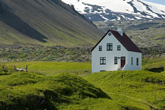 White house near Snaefells Jokull, Iceland