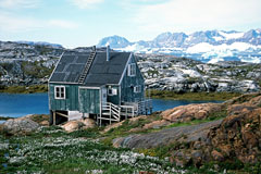 Remote wooden house in Tiniteqilaaq, East Greenland